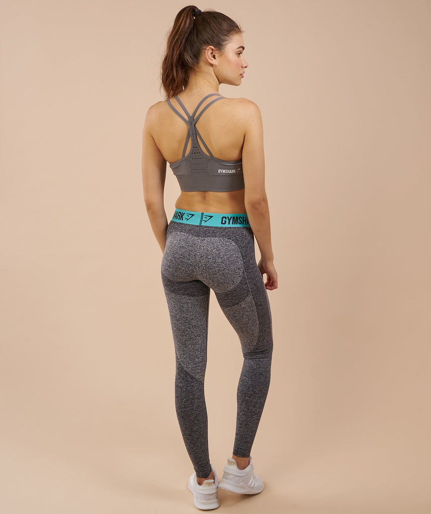 Gymshark Flex Leggings - Charcoal Marl/Pale Turquoise