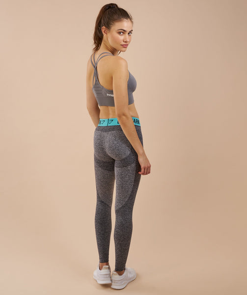 Gymshark Flex Leggings - Charcoal Marl/Pale Turquoise 3