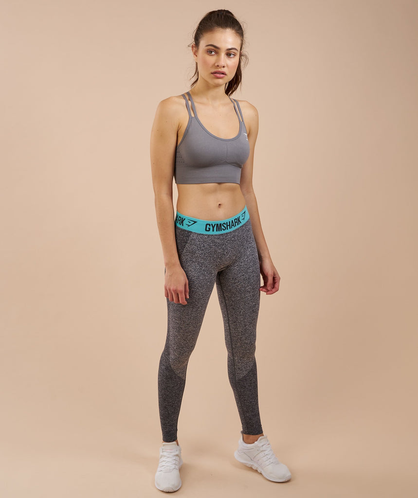 Gymshark Flex Leggings - Charcoal Marl/Pale Turquoise 6
