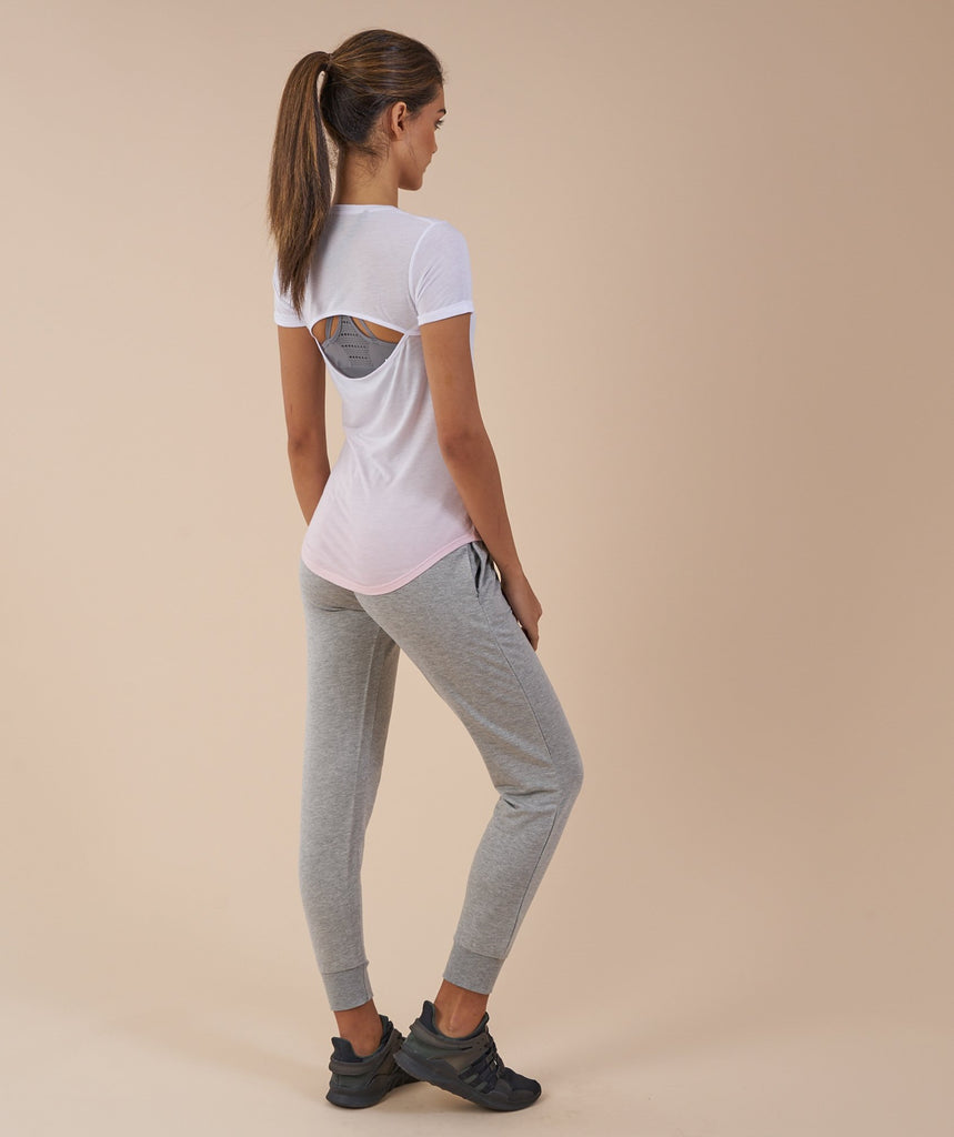 Gymshark Ombre T-Shirt - White/Chalk Pink 2