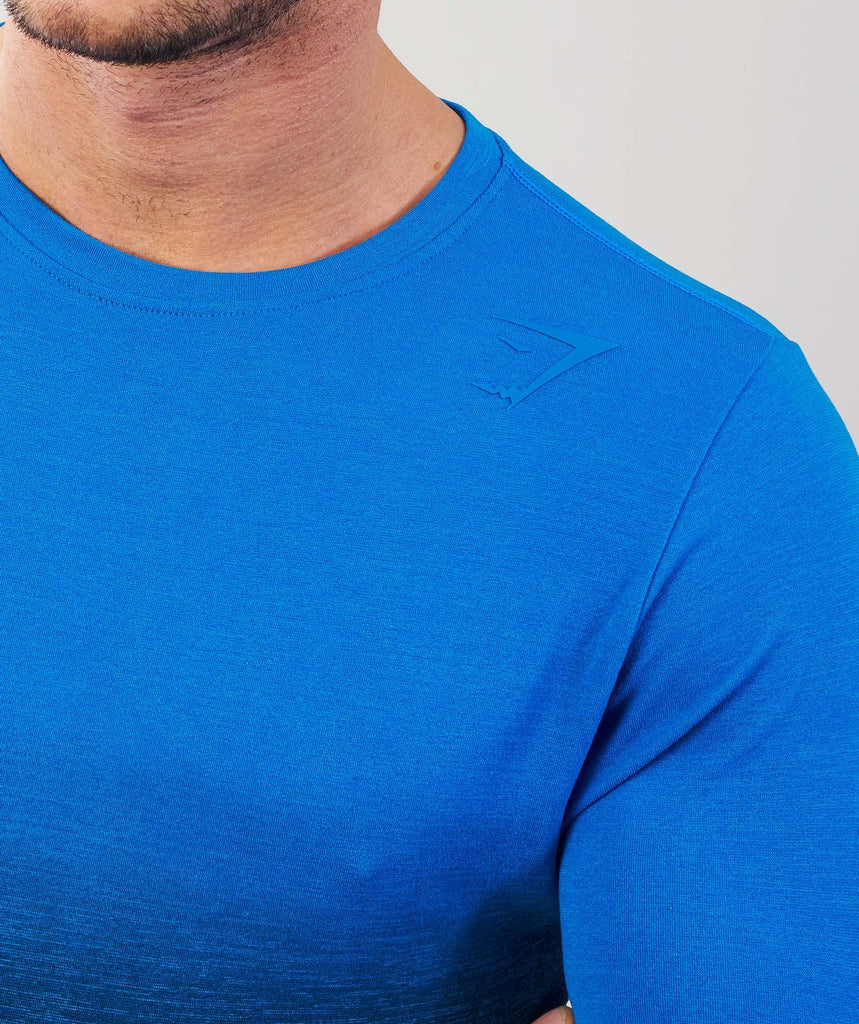 Gymshark Ombre Long Sleeve T-Shirt - Dive Blue/Black 5