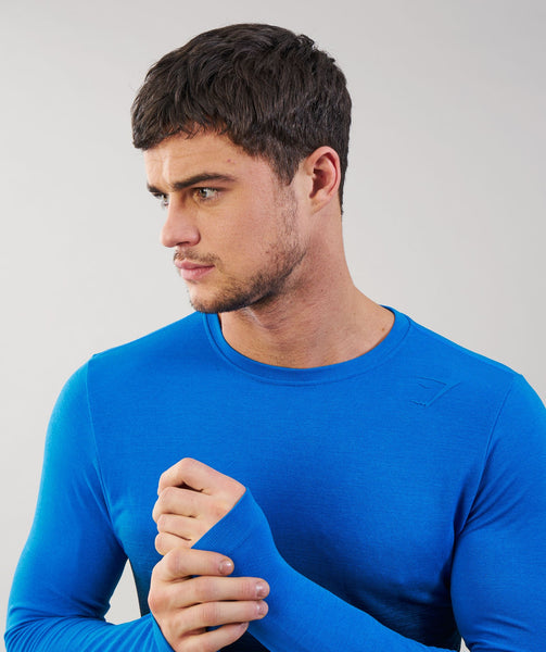 Gymshark Ombre Long Sleeve T-Shirt - Dive Blue/Black 3