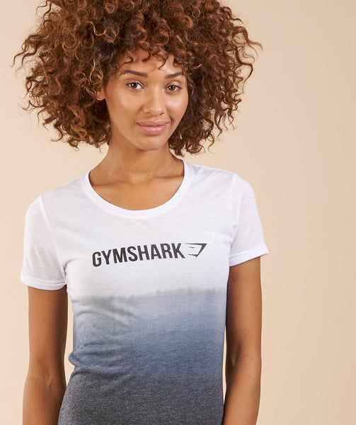 Gymshark Ombre T-Shirt - White/Black 4