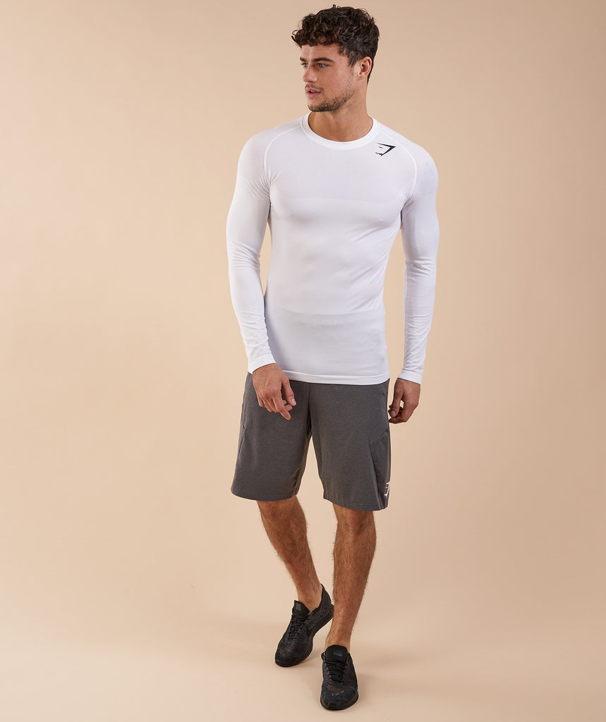 Gymshark Phantom Seamless Long Sleeve T-Shirt - White Marl 1