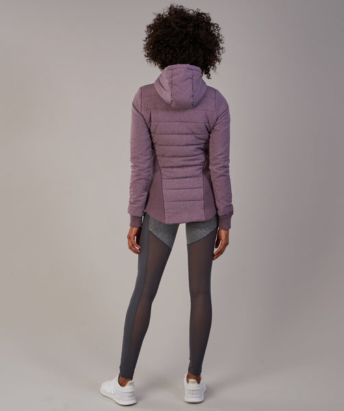 Gymshark Mellow Fitted Puffer Jacket - Purple Wash Marl 1