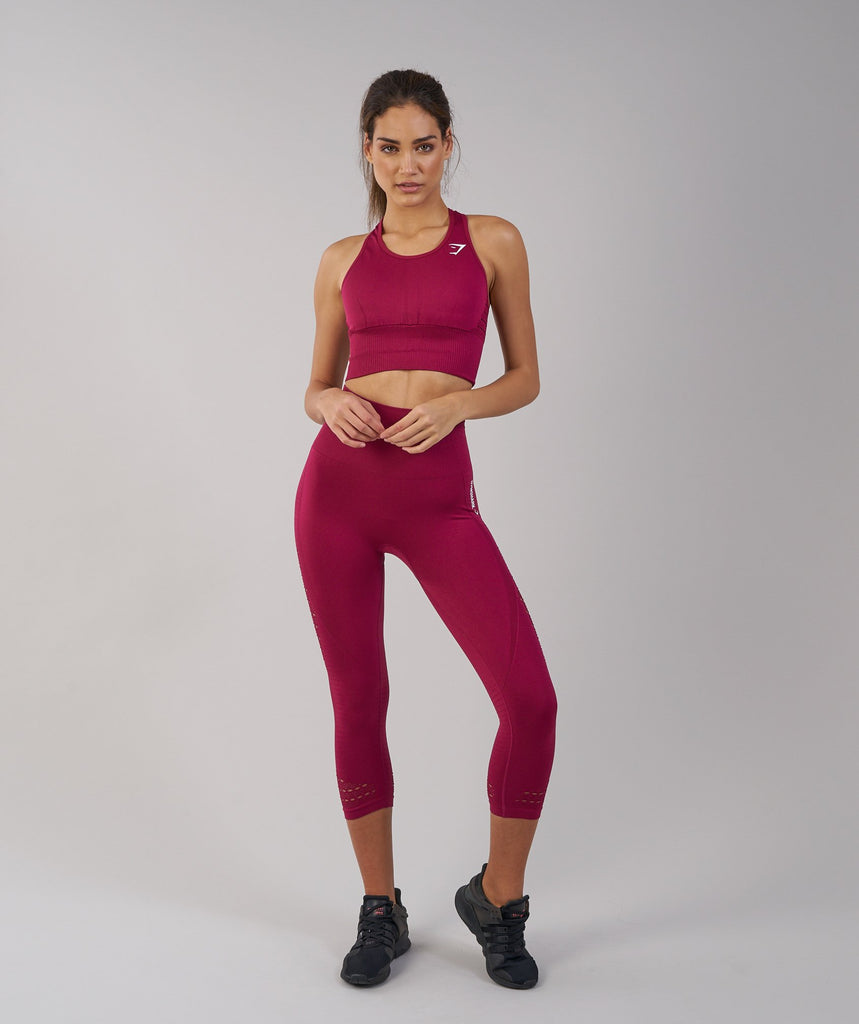 Gymshark Energy Seamless High Waisted Cropped Leggings - Beet 1