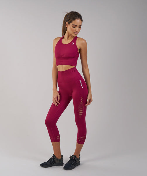 Gymshark Seamless Energy High Waisted Cropped Leggings - Beet 2