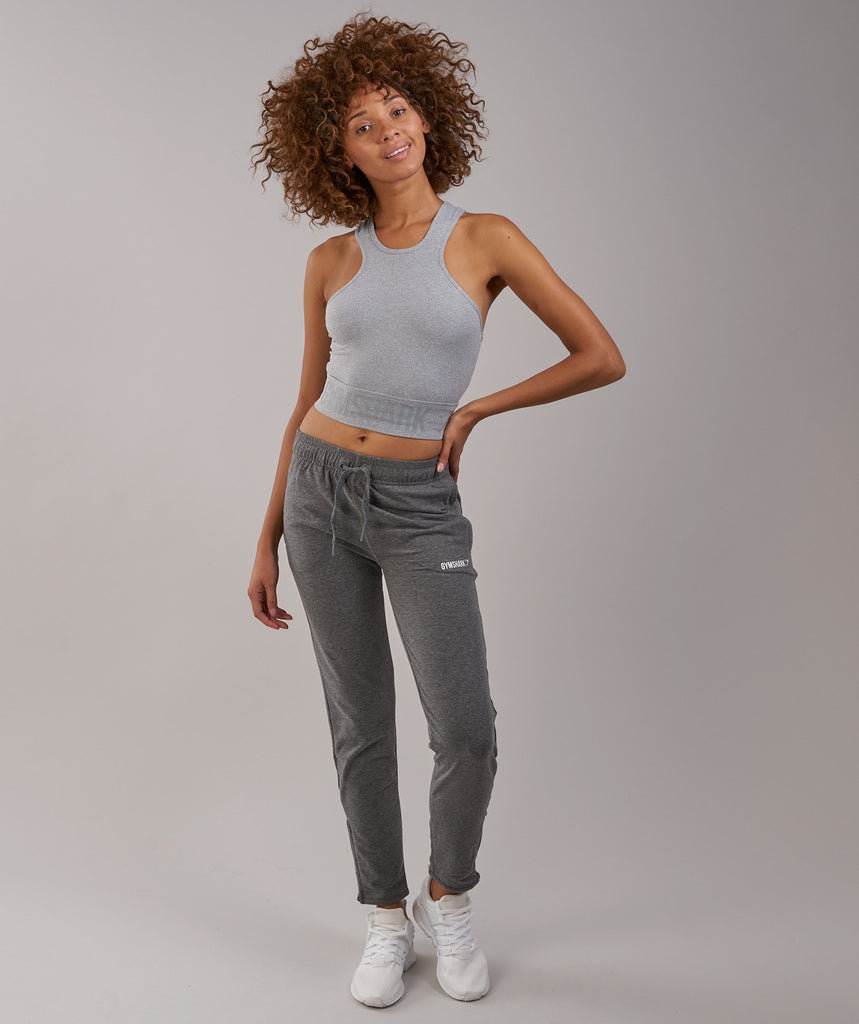 Gymshark Serene Sports Crop Top - Light Grey Marl 1