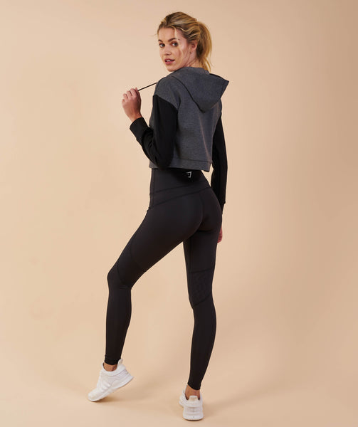 Gymshark Two Tone Cropped Hoodie - Charcoal Marl/Black 2