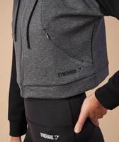 Gymshark Two Tone Cropped Hoodie - Charcoal Marl/Black 11