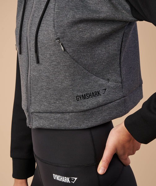 Gymshark Two Tone Cropped Hoodie - Charcoal Marl/Black 4