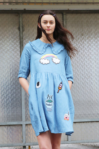 Ruffle Collar Denim Smock Dress with Patches