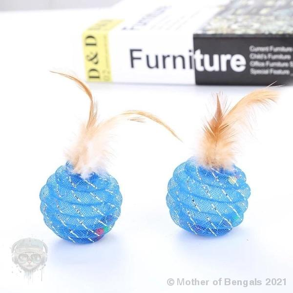 Feathery rattle ball Mother of Bengals Blue