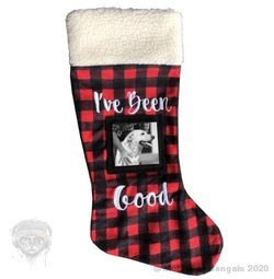 I've been good ! Buffalo plaid photo stocking Mother of Bengals