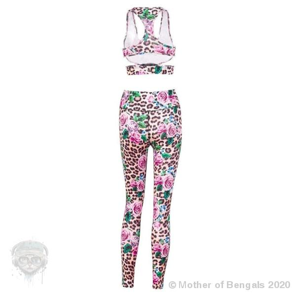 Leopard Collection Colorful Rosette Top and Leggings Gym Set 🌹 Mother of Bengals