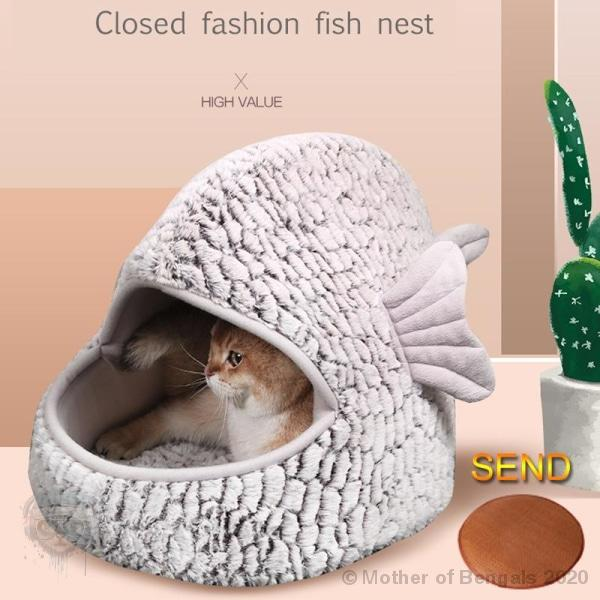 Plush Fish Cat Bed Bed Mother of Bengals