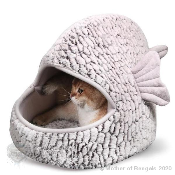 Plush Fish Cat Bed Bed Mother of Bengals grey