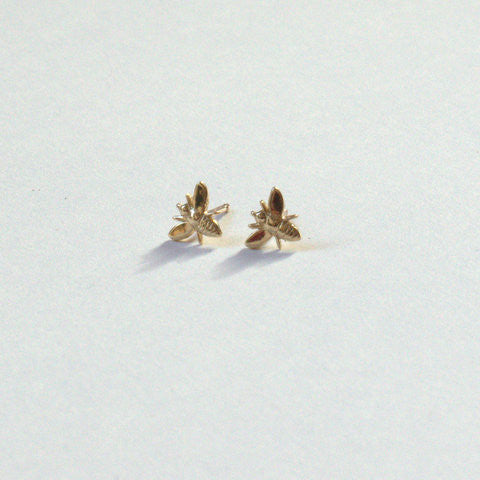 Bee Stud Earrings 14K Yellow Gold