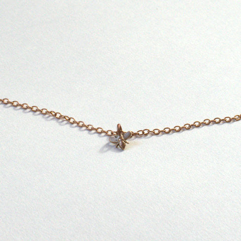 Mini Bee Bronze Necklace