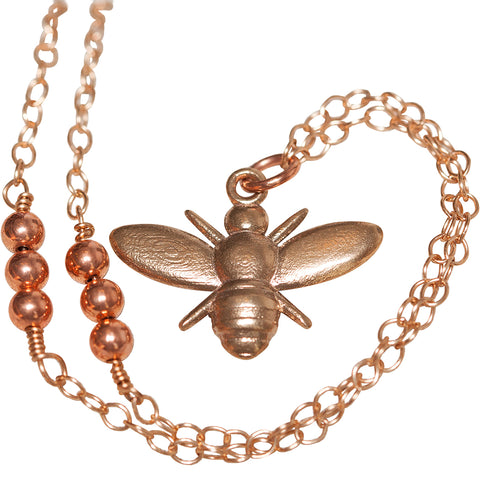 L'Abeille (bee) Necklace with Copper Beads