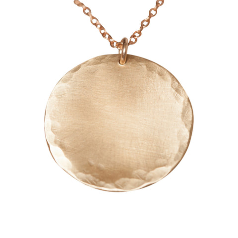 Bronze Hammered Circle Necklace