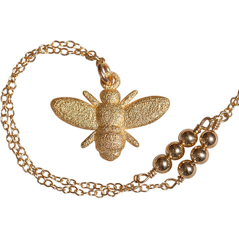 L'Abeille (bee) Necklace with Gold Filled Beads