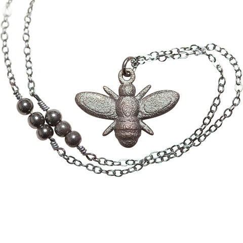 L'Abeille (bee) Noir Necklace with Hematite beads