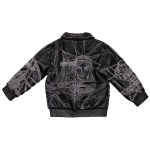 90's Big City Embroidered Leather Jacket size size 6/8