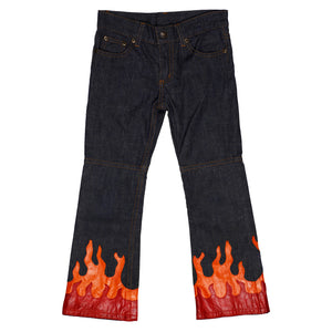 y2k leather embellished Flame Jeans size 5