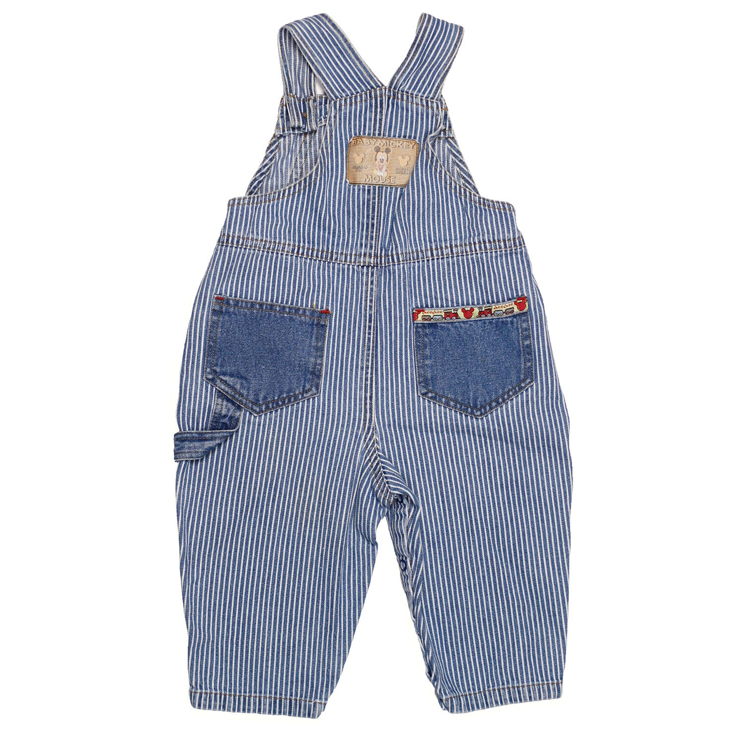 VTG Baby Mickey striped overalls size 12m