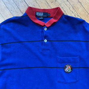 Polo RL Thin Striped Cookie Patch Pocket Long Sleeve Polo