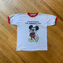 "Load image into Gallery viewer, Bootleg Mickey ""I'm Not Deaf"" Ringer T-Shirt"