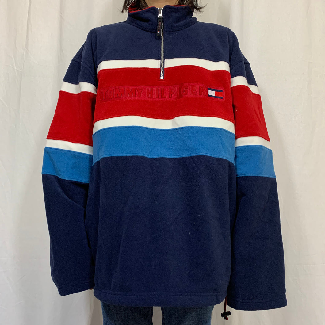 Tommy Hilfiger Striped 1/4 Zip Fleece Pullover