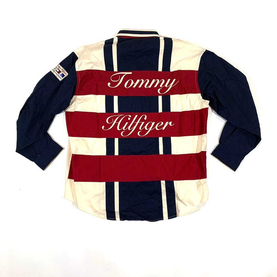 Tommy Hilfiger NWT Striped Cursive LS Woven