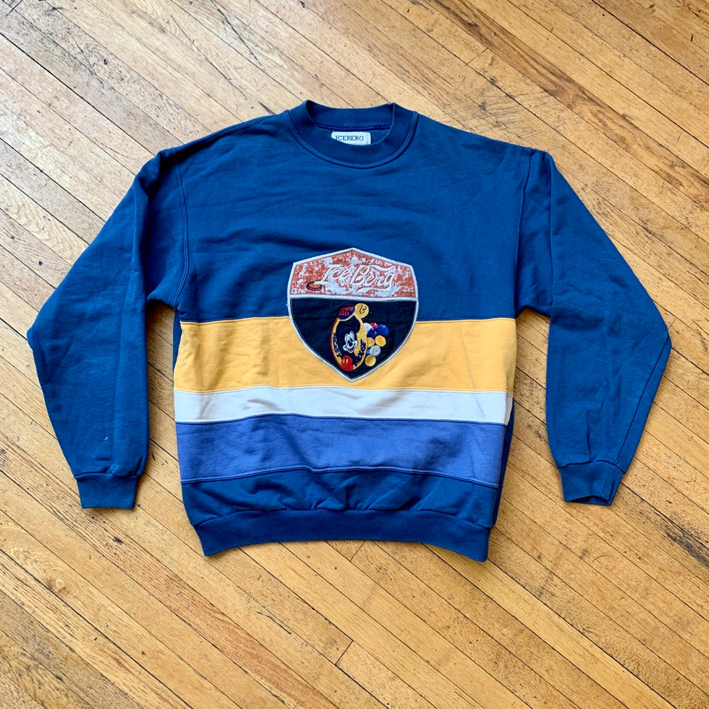 Ice-Berg Mickey Mouse Embroidered Split Color Crewneck