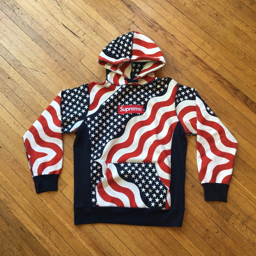 CONSIGN AS 14 : SUPREME BOX LOGO 9/11 AMERICAN FLAG HOODIE