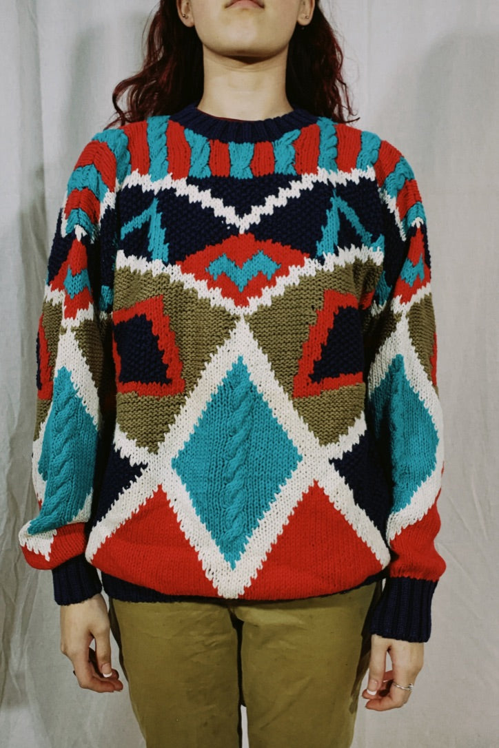 Pierre Cardin Abstract Knit Sweater