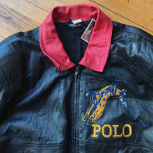 Load image into Gallery viewer, Bootleg Polo RL Embroidered Leather Jacket