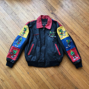 Marvin The Martian Color Block Leather Jacket