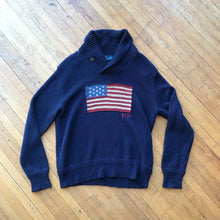 Load image into Gallery viewer, Polo RL American Flag Shawl Neck Knit Sweater
