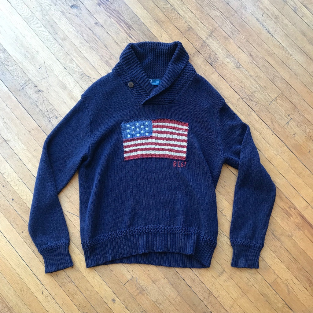 Polo RL American Flag Shawl Neck Knit Sweater