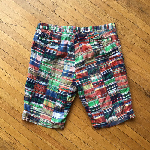 Polo RL Multi Plaid Patchwork Cargo Shorts
