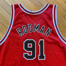 Load image into Gallery viewer, Champion Made In U.S.A Chicago Bulls 50th Anniversary Rodman Jersey