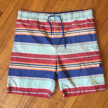 Load image into Gallery viewer, Polo RL Pastel Horizontal Striped Swim Trunks BLue / Multi LG