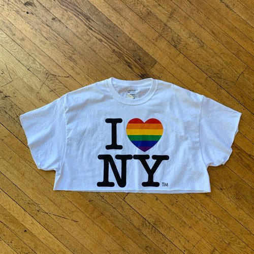 I Love NY Rainbow Heart Cropped T-Shirt