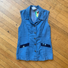 Load image into Gallery viewer, No Brand Denim Full Button Collard Back Tie Top