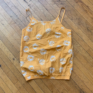 Sketch Swirl Polka Dot Strap Tank, SM / Golden Yellow