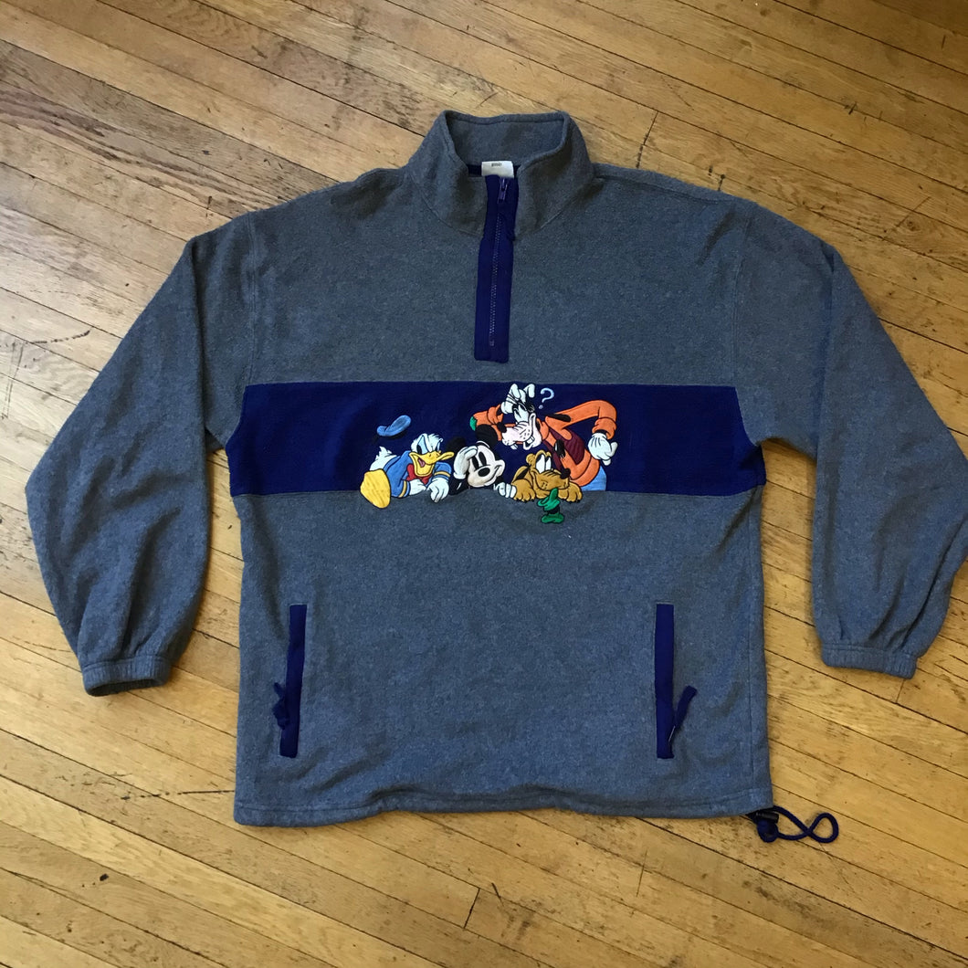 Disney & Friends Embroidered Split Color 1/4 Zip Up Fleece