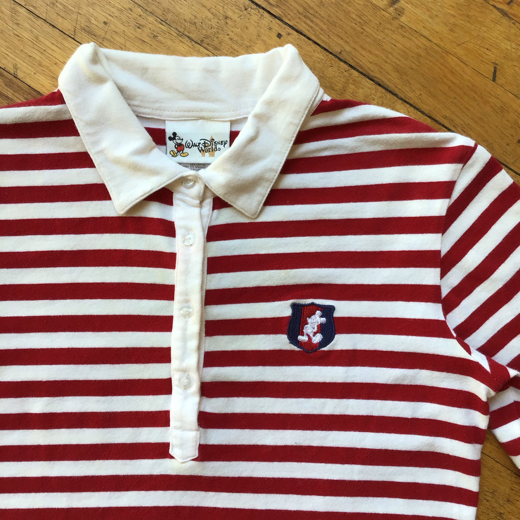 Disney Mickey Mouse Crest Striped Cropped Polo