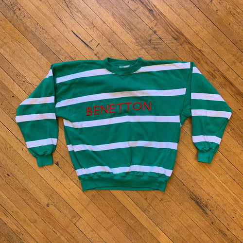 Benetton Embroidered Heavy Mock Neck Striped Sweater